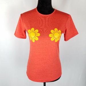 """Zaful  shirt orange tee """"Burn the Bras"""" size Md"""